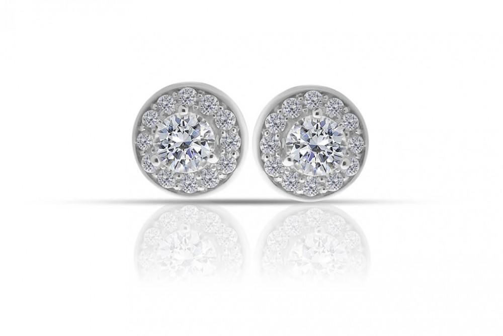Round 0.64ct Halo Diamond Stud Earrings