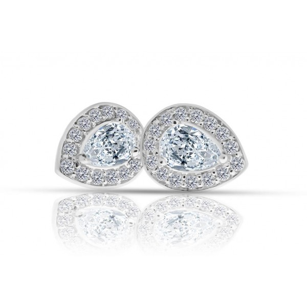 1.24ct Pear Halo Diamond Earrings
